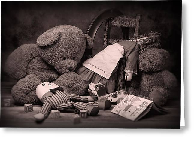 Discarded Greeting Cards - Toys Greeting Card by Tom Mc Nemar