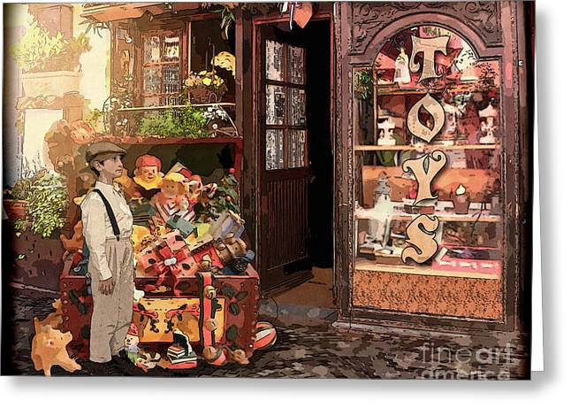 Toy Shop Greeting Cards - Toystore Boy Vintage Greeting Card by Tricia CastlesNcrowns