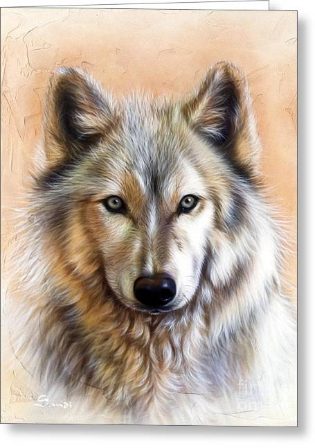 Wolf Portrait Greeting Cards - Trace Two Greeting Card by Sandi Baker