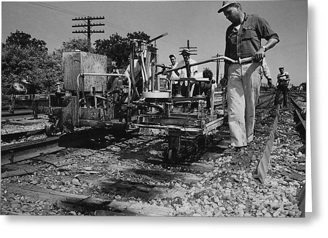 """""""work Crew"""" Greeting Cards - Track Machines at Work - 1959 Greeting Card by Chicago and North Western Historical Society"""
