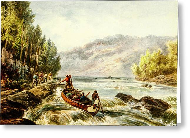 Schooner Greeting Cards - Tracking the Rapids 1891 Greeting Card by Frances Anne Hopkins