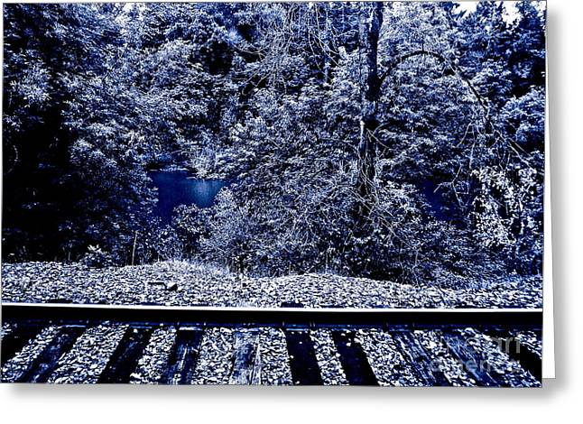 Railroad Tie Greeting Cards - Tracks Greeting Card by Gwyn Newcombe