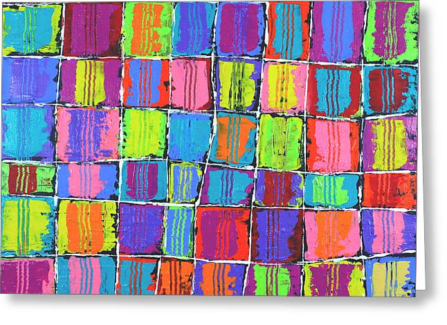 Tracks Over Squares Greeting Card by Jeremy Aiyadurai