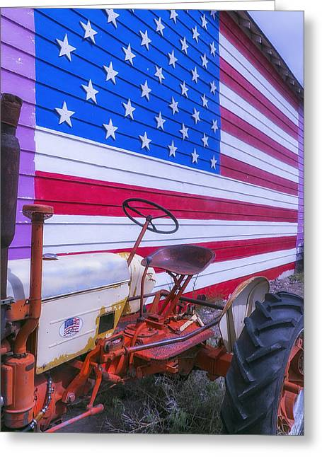Tractor Tire Greeting Cards - Tractor And Large Flag Greeting Card by Garry Gay