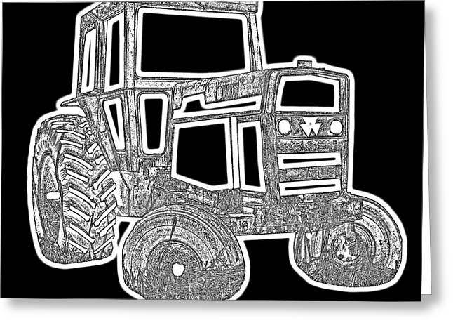 Pull Greeting Cards - Funky Tractor Graphic Pen Ink Greeting Card by Edward Fielding