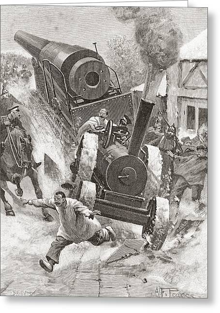 Dangerous Drawings Greeting Cards - Tractor Hauling Cannon In Late 19th Greeting Card by Ken Welsh