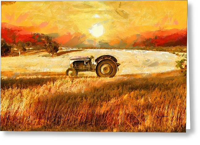 Anthony Caruso Greeting Cards - Tractor in a Field Greeting Card by Anthony Caruso