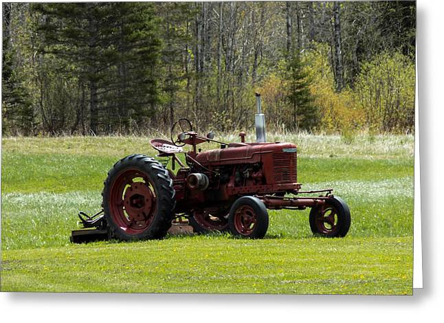 Maine Farms Greeting Cards - Tractor in a Field Greeting Card by William Tasker