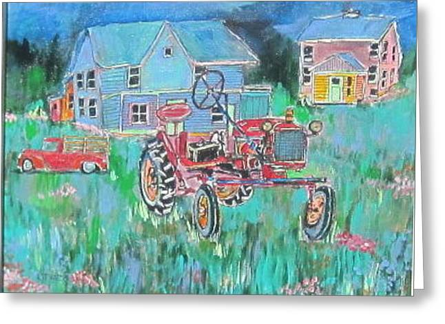 Michael Litvack Greeting Cards - Tractor in Field Greeting Card by Michael Litvack