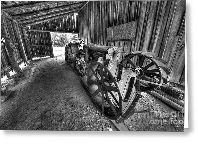 Oneida Greeting Cards - Tractor in Port Oneida Greeting Card by Twenty Two North Photography
