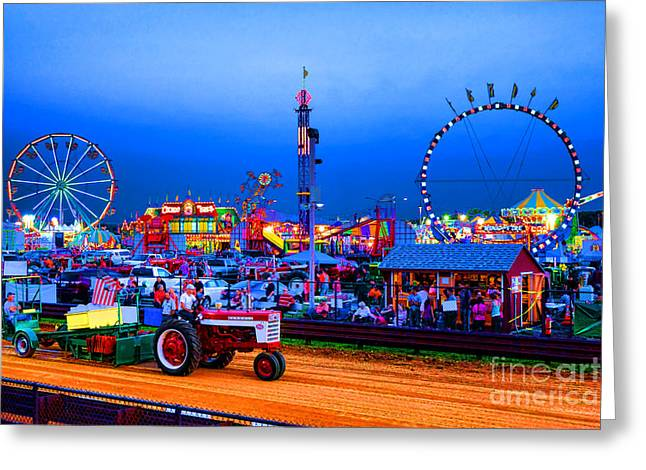 Amusement Ride Greeting Cards - Tractor Pull At the County Fair Greeting Card by Olivier Le Queinec