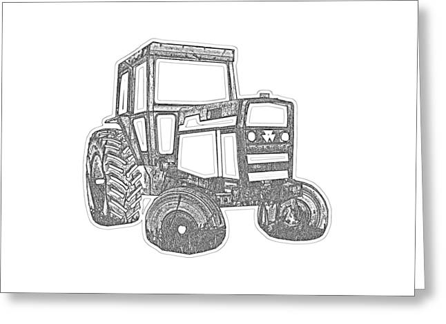 Pull Greeting Cards - Tractor Transparent Greeting Card by Edward Fielding
