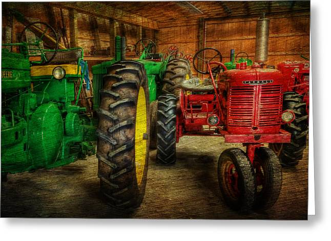 Mccormicks Farm Greeting Cards - Tractors at Rest - John Deere - Mccormick - Farmall - farm equipment - nostalgia - vintage Greeting Card by Lee Dos Santos