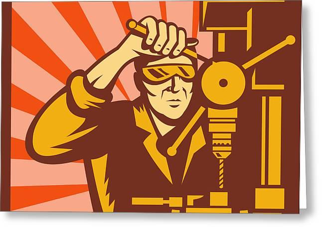 Trade Worker Drill Greeting Card by Aloysius Patrimonio