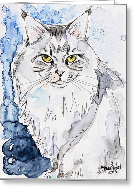 Pen And Paper Greeting Cards - Trader the Maine Coon Greeting Card by Shaina Stinard