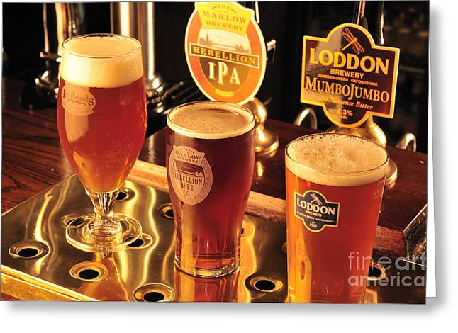 Food And Beverage Greeting Cards - Traditional English Beers Greeting Card by Andy Smy