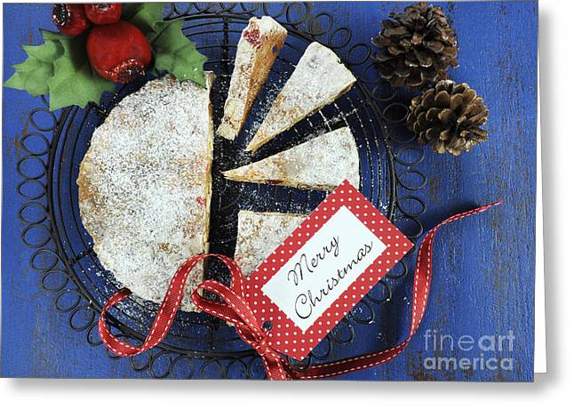 Tabletop Greeting Cards - Traditional festive Christmas Italian style Panforte fruit cake  Greeting Card by Milleflore Images