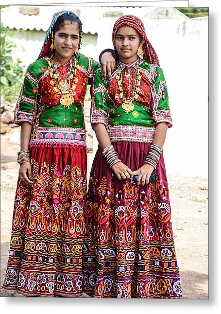 Colorful Jewelry Greeting Cards - Traditional Kutchhi girls Greeting Card by Varsha Shah