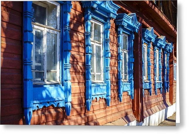 Wooden Building Greeting Cards - Traditional old Russian house facade Greeting Card by Alexey Stiop