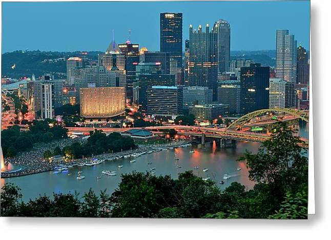 Monongahela Duquesne Incline Greeting Cards - Traditional Panoramic Greeting Card by Frozen in Time Fine Art Photography