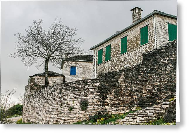 Residential Structure Greeting Cards - Traditional stone house in Monodendri Greece Greeting Card by Tsvi Braverman