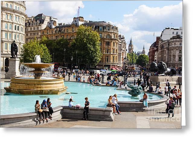 Londoners Greeting Cards - Trafalgar Square 2 Greeting Card by Marcin Rogozinski