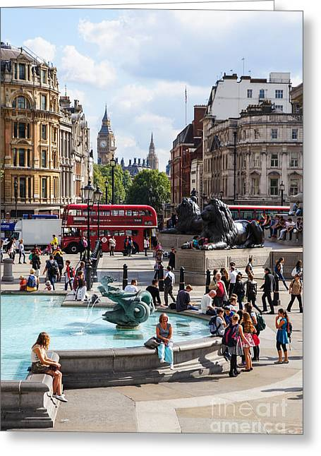 Londoners Greeting Cards - Trafalgar Square 3 Greeting Card by Marcin Rogozinski