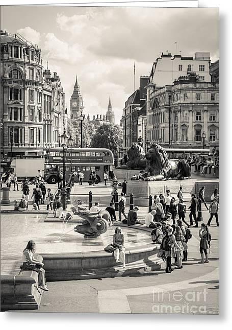 Londoners Greeting Cards - Trafalgar Square 6 Greeting Card by Marcin Rogozinski