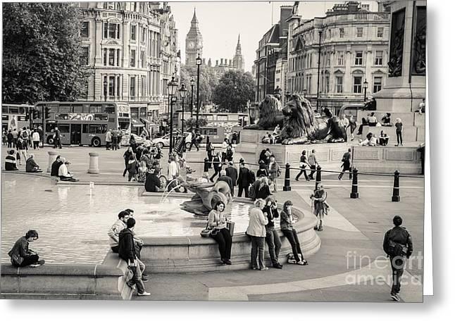 Londoners Greeting Cards - Trafalgar Square 7 Greeting Card by Marcin Rogozinski