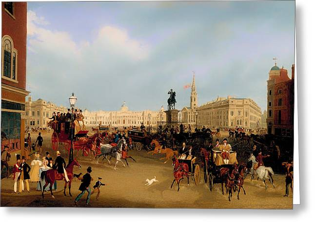 Trafalgar Greeting Cards - Trafalgar Square Greeting Card by James Pollard