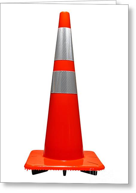 Bollard Greeting Cards - Traffic Cone Greeting Card by Olivier Le Queinec