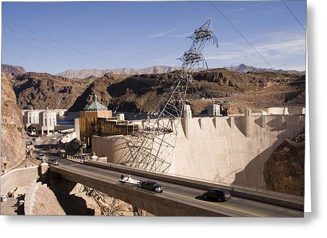 Greatest Generation Greeting Cards - Traffic Crossing The Hoover Dam Greeting Card by Taylor S. Kennedy