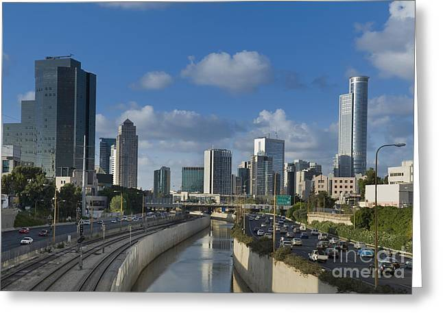 Height Greeting Cards - Traffic Flowing in and Out of Downtown Tel Aviv Greeting Card by Noam Armonn