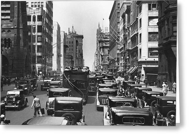 Traffic On Fifth Avenue Greeting Card by Underwood Archives