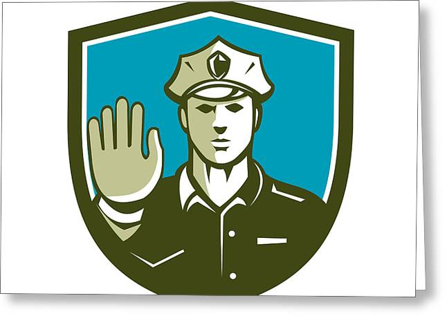 Police Stop Greeting Cards - Traffic Policeman Hand Stop Sign Shield Retro Greeting Card by Aloysius Patrimonio