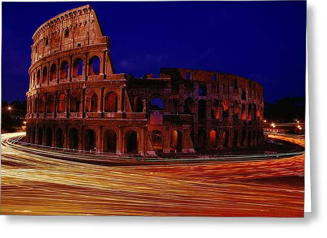 Traffic Races Around The Ruins Greeting Card by Winfield Parks
