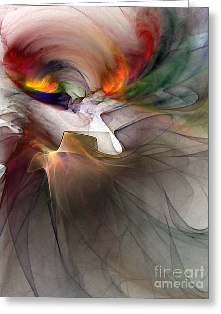 Tragedy Abstract Art Greeting Card by Karin Kuhlmann