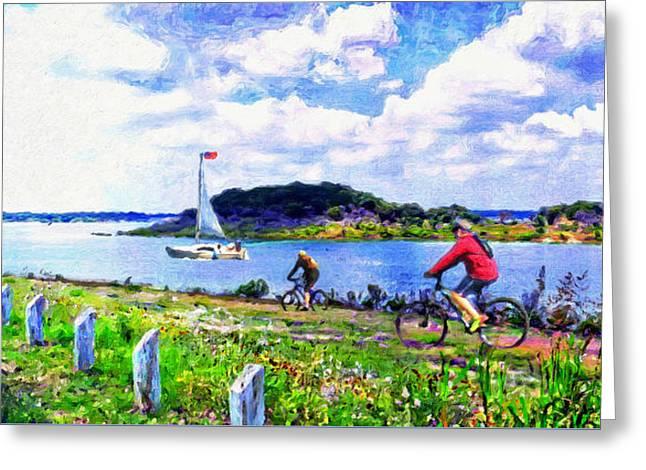 Austin Artist Digital Art Greeting Cards - Mountain Bike Adventures Greeting Card by Le Artman