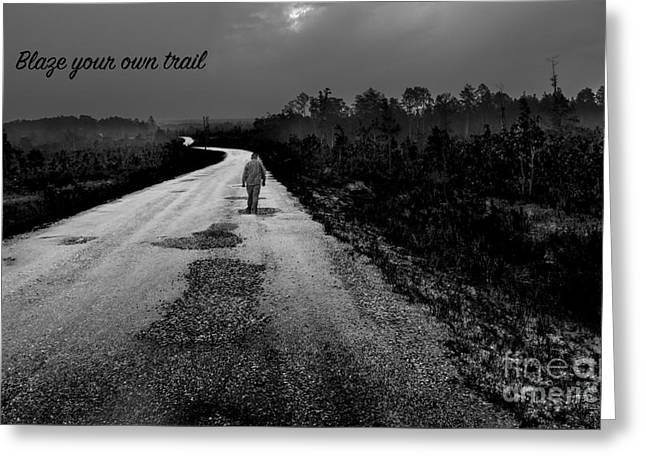 Highway Tapestries - Textiles Greeting Cards - Trail Blazer Greeting Card by James Hennis
