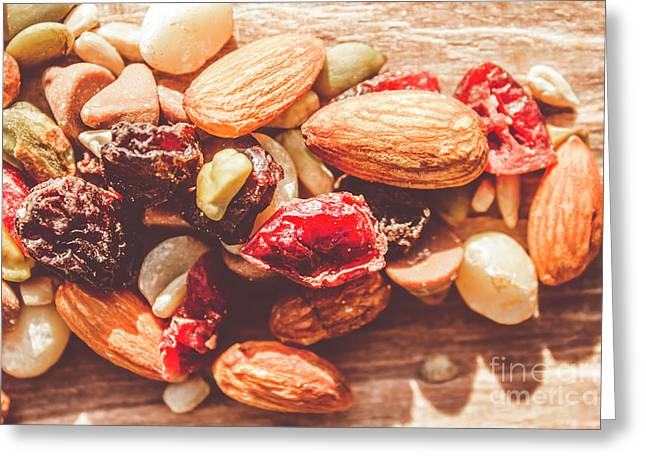 Trail Mix High-energy Snack Food Background Greeting Card by Jorgo Photography - Wall Art Gallery