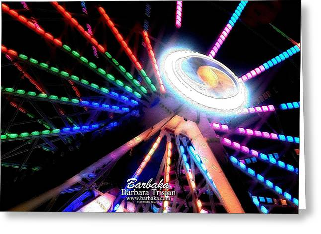 Trail Of Lights Abstract #7486 Greeting Card by Barbara Tristan