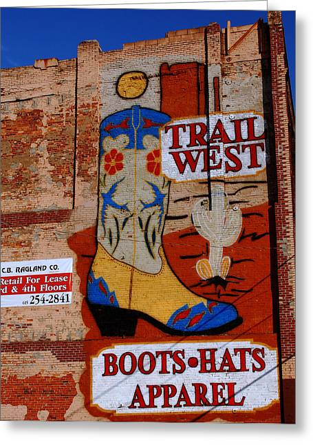 Apparel Greeting Cards - Trail West Mural Greeting Card by Susanne Van Hulst