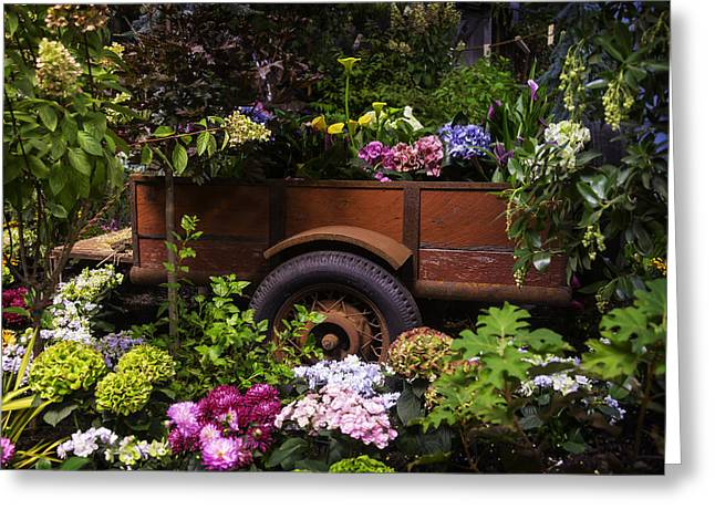 Wagon Wheels Greeting Cards - Trailer Full Of Flowers Greeting Card by Garry Gay