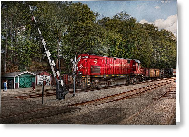 Train - Diesel - Look out for the Locomotive  Greeting Card by Mike Savad