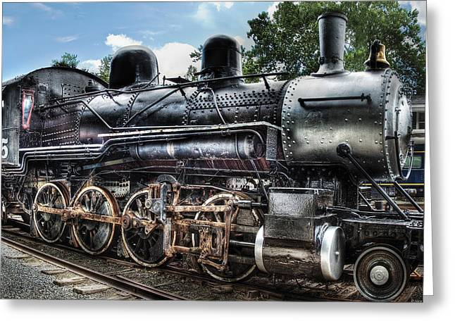 2-8-0 Greeting Cards - Train - Engine - 385 - Baldwin 2-8-0 Consolidation Locomotive Greeting Card by Mike Savad