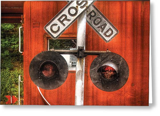 Train - Yard - Railroad Crossing Greeting Card by Mike Savad