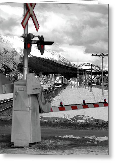 Selective Colouring Greeting Cards - Train a Comin Greeting Card by Lisa Knechtel