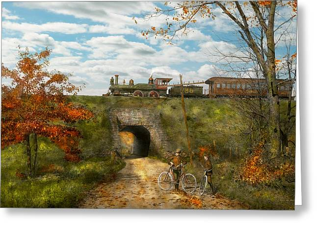 128 Greeting Cards - Train - Arlington NJ - Enjoying the Autumn Day - 1890 Greeting Card by Mike Savad