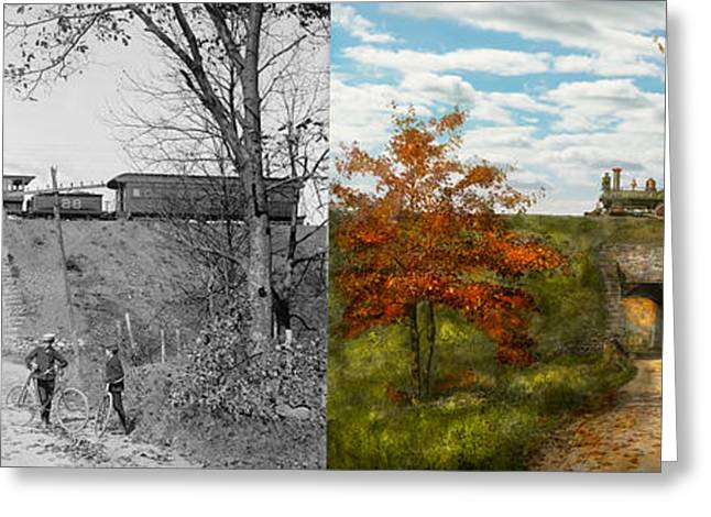 Division Greeting Cards - Train - Arlington NJ - Enjoying the Autumn Day - 1890 - Side by side Greeting Card by Mike Savad