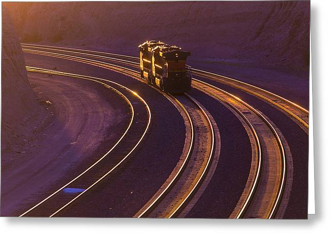 Train At Sunset Greeting Card by Garry Gay